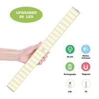 Dimmable USB Charging 68 LED Under Cabinet Lighting PIR Motion Sensor Wardrobe Closet Night Lamp for Cupboard Kitchen Hallway