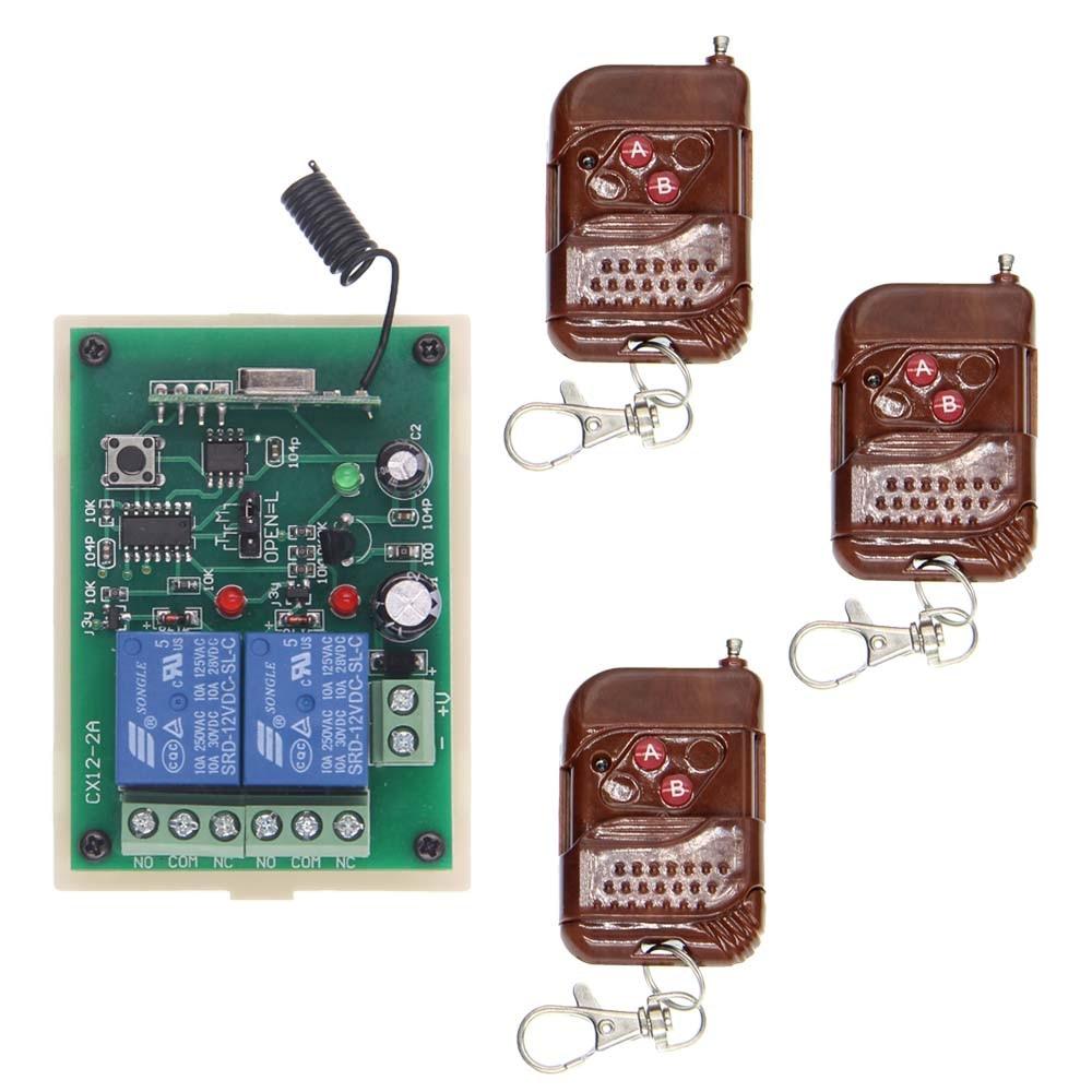 DC 12V 24V 2 CH Channels 2CH RF Wireless Remote Control Switch System,315/433.92 MHZ, 3 X Transmitter +Receiver dc 12v 2ch 2 channel wireless rf remote control switch 3 transmitter and 1 receiver for wireless system 3312