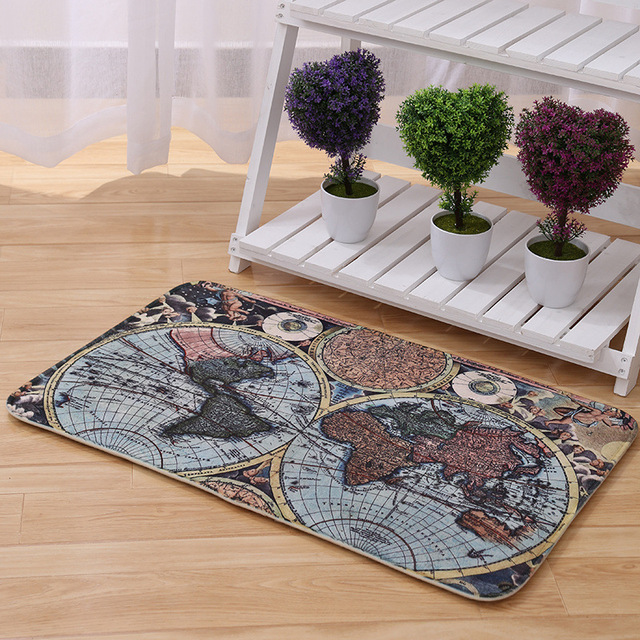 A The Map Of World Carpet Retro Style Bedroom Living Room Table Mats With Bed