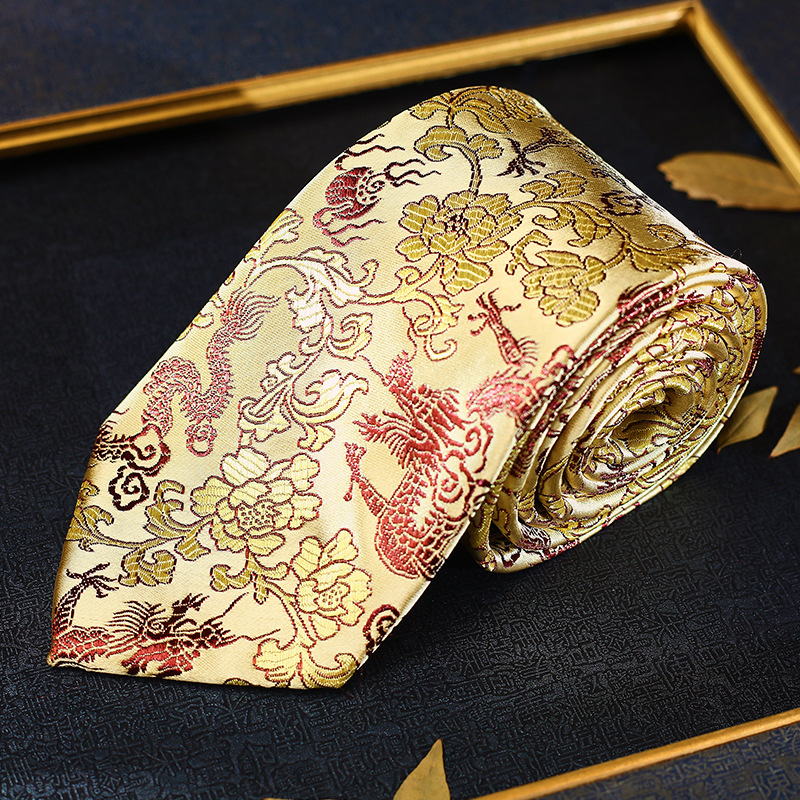 Gold Dragon Men Tie Traditional China Nanjing Yunjin Neckties High Quality Office Business Tie Chinese New Year Hot Sale Gift