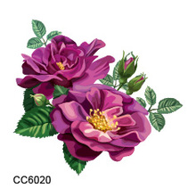 CC6020 6X6cm Little Colorful Purple Camellia Flower Designer Temporary Tattoo Sticker Body Art Water Transfer Fake Taty For Face