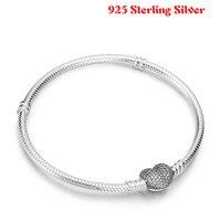 Authentic 100 925 Sterling Silver Snake Chain Heart Pan Bangle Bracelet Luxury Women Jewelry