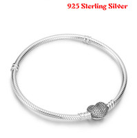 Authentic 100 925 Sterling Silver Snake Chain Heart Pandora Bangle Bracelet Luxury Women Jewelry