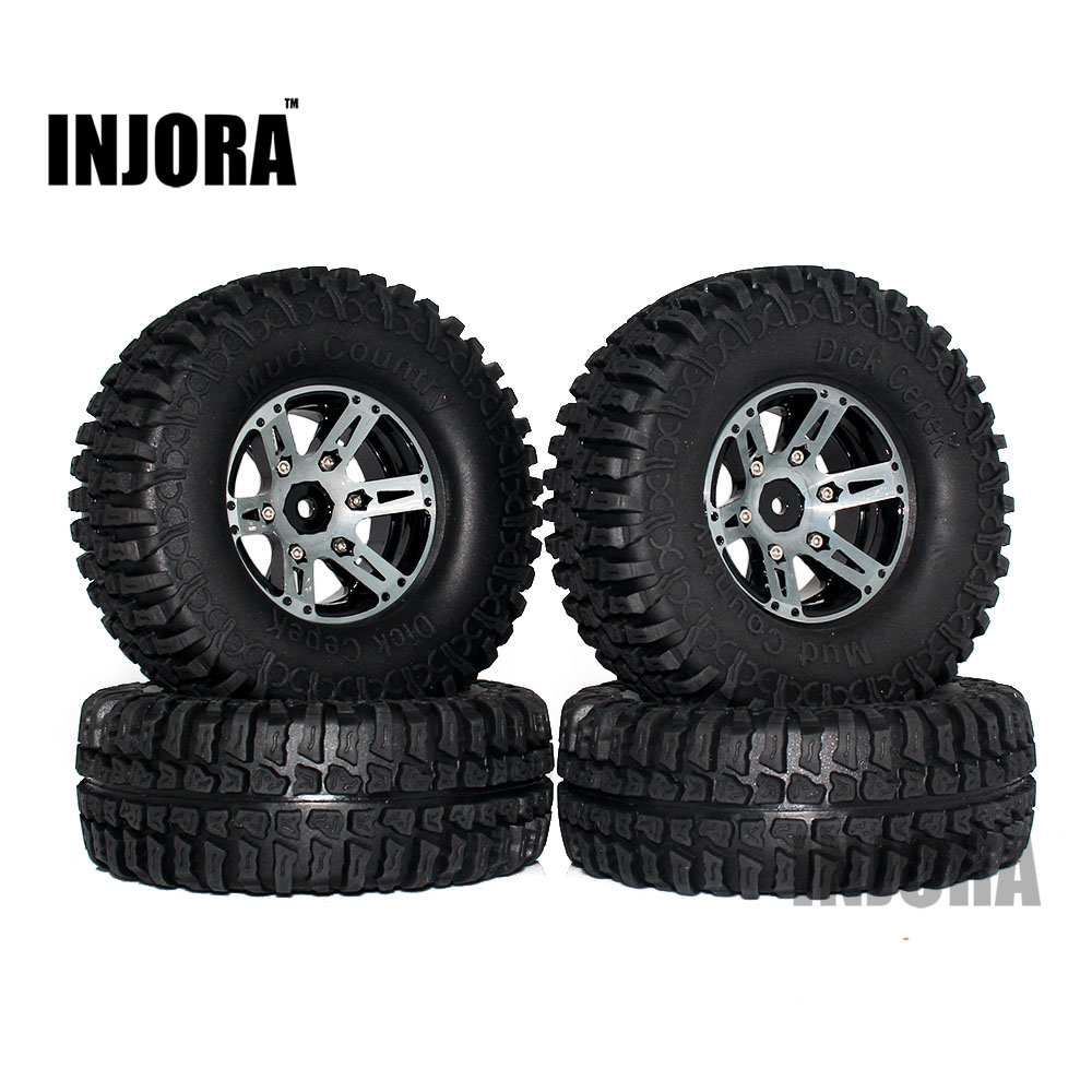 4PCS 1.9 Rubber Tires & Beadlock Wheel Rim for 1:10 RC Crawler Axial SCX10 Tamiya CC01 RC4WD D90 D110