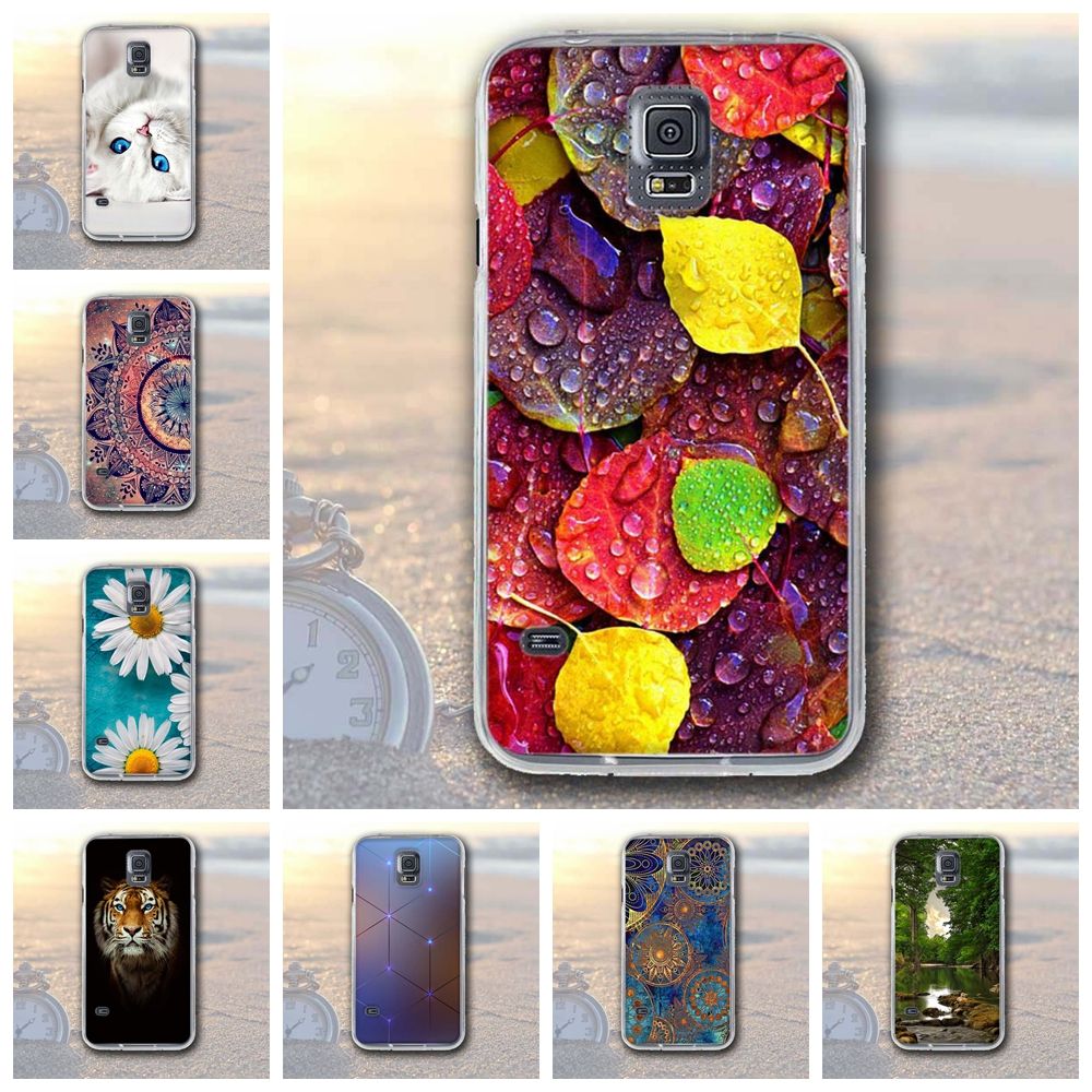 Soft TPU Case for Samsung Galaxy S5 Cover Leaf Printing Case Coque For Samsung Galaxy S5 S 5 i9600 SV I9600 Bags for Galaxy S5