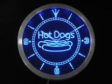 nc0331 Hot Dogs Fast Food Shop Neon Sign LED Wall Clock