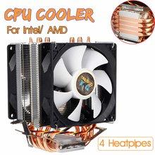 3 Pin 4 тепловых трубки, кулер для процессора, вентилятор охлаждения, тихий двойной вентилятор, радиатор для Intel LGA 1150/1151/1155/1156/1366/775 AMD
