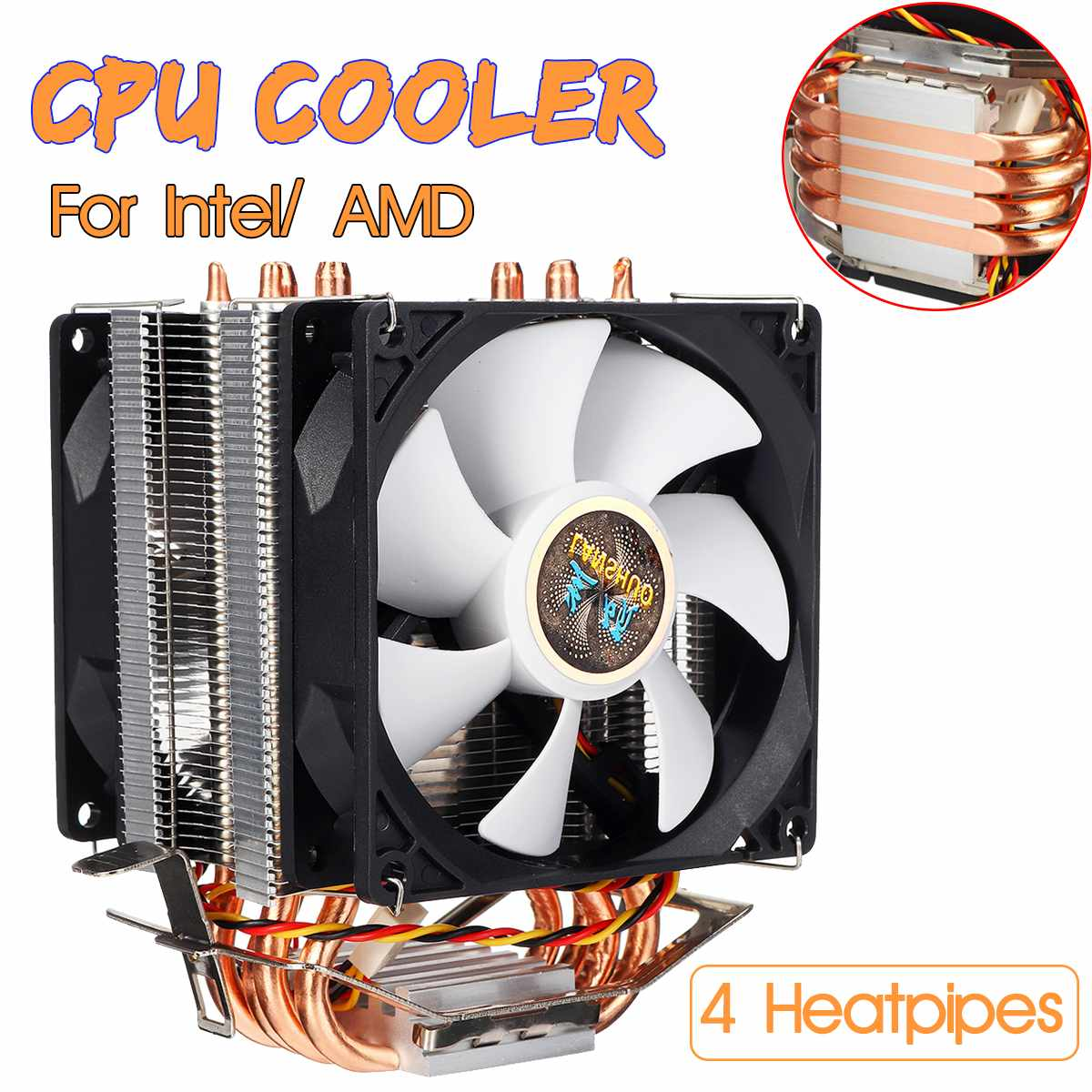 3 Pin 4 Heatpipes CPU <font><b>Cooler</b></font> Cooling Fan Radiator Quiet Dual Fan <font><b>Cooler</b></font> Heatsink for Intel LGA 1150/1151/1155/<font><b>1156</b></font>/1366/775 AMD image
