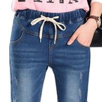Бренд Джинсы для женщин Для женщин джинсовые штаны повседневные штаны эластичный пояс плюс Размеры 5xl рваные loost Fit отверстий Высокая Талия ...