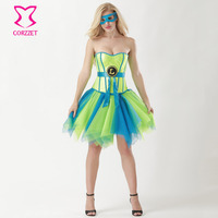Neon Green Sequins Corset Skirt Mask Outfits Fancy Dress Anime Cosplay Supergirl Costume Halloween Sexy Costumes