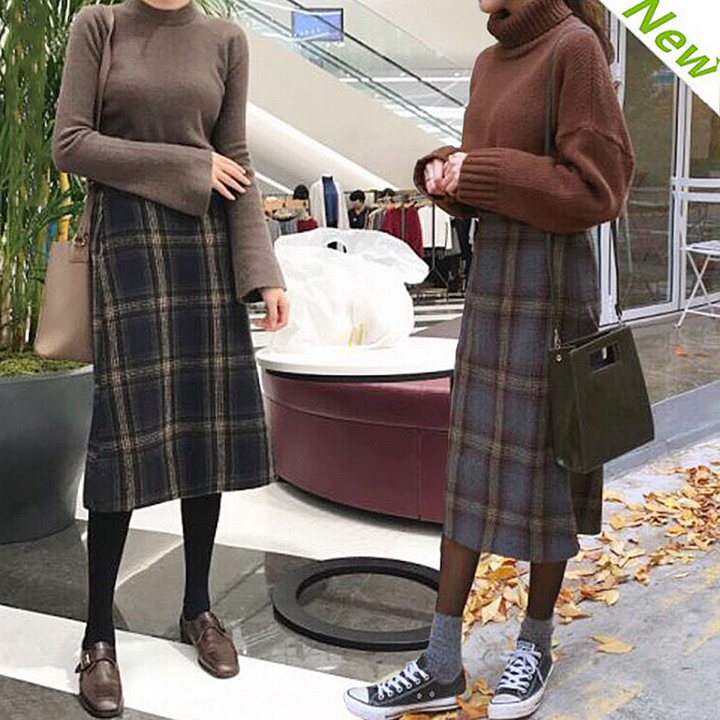 2017 winter South Korea New Retro wool skirt waist Plaid schoolgirl thickened in the long section
