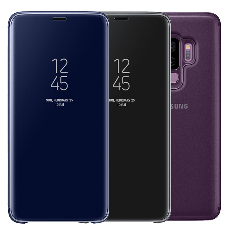 For SAMSUNG S9 Case with Original Chip Smart View Mirror Clear Flip Full Cover Stand Case for SAMSUNG Galaxy S9 Plus Case Cover