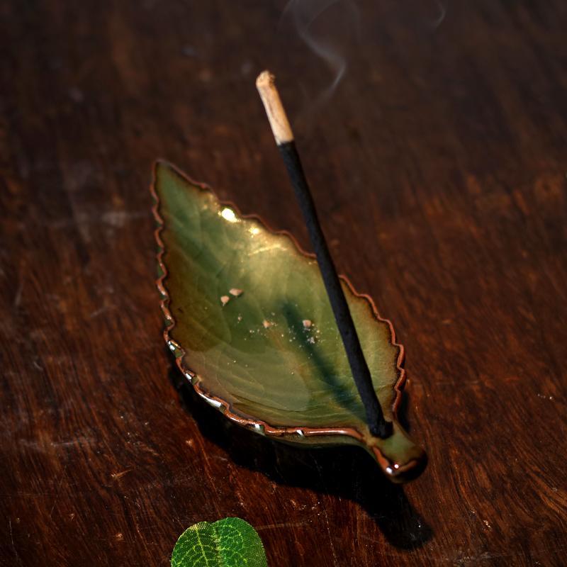 Longquan celadon créatif feuilles encensoir en céramique encens inséré joss bâton wingceltis aromathérapie encensoir articles d'ameublement