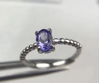Natural blue tanzanite Ring Natural gemstone Ring S925 sterling silver trendy Elegant Simple round women's party fine Jewelry
