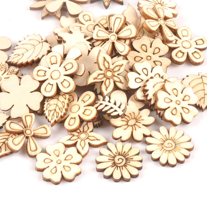 50Pcs Mix Plant/Flower/grass Shape Natural Wooden For Handmade DIY Crafts Wood Ornament Scrapbooking Home Decoration 20mm M1805