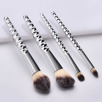 New 2019 Women's Fashion 4PCS Makeup Brushes With Honeycomb Silver Handle Eye Makeup Brush Set Maquiagem Drop Shipping Eye Shadow Applicator