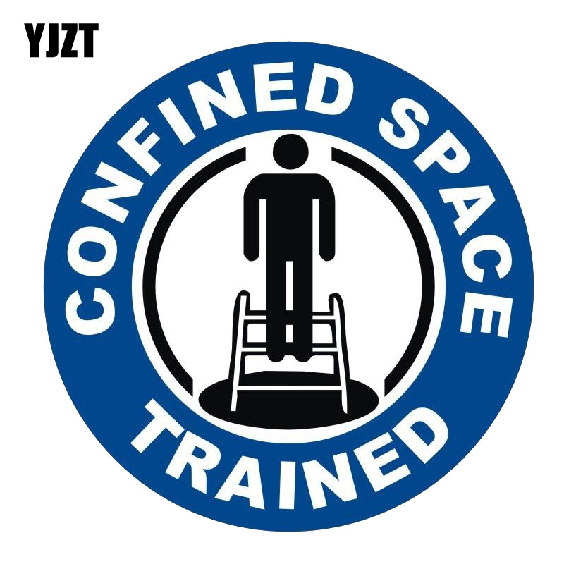 YJZT 15CM*15CM Funny Car Sticker Confined Space Trained Funny PVC Decal 12-0447