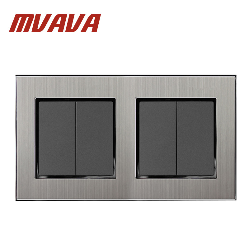 MVAVA 4 Gang 2 Way Switch Button 146*86mm Silver Satin Metal 2 Model Double Control Power Push Button Switches Free Shipping