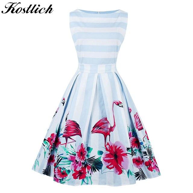565396f8833d Kostlich Flamingo Print Summer Dress Women 2018 Sleeveless Hepburn 50s 60s  Vintage Dress Striped Tunic Party Dresses Plus Size
