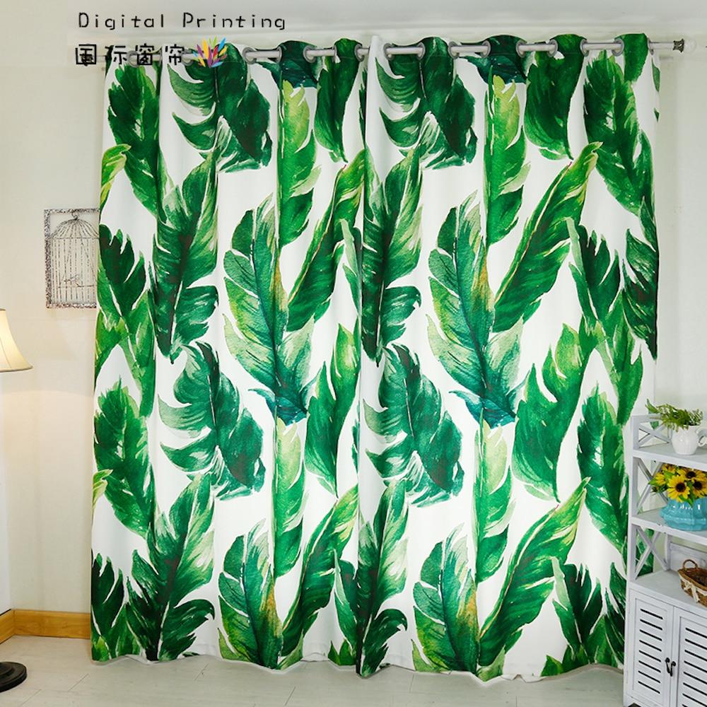 Custom Made 2x Window Drapery Curtain Living Room French Window Dressing Tulle 200x260cm Palm Leaves White Rainforest Rainforest