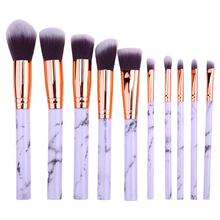 10 piezas de mármol Patten maquillaje cepillo de polvo cosmético de la Fundación de sombra de ojos labio hacer cepillos herramienta de belleza, maquiagem