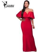 Robes de soirée pour les femmes femme robe Sexy Robes Rouge Ruffle Encolure Maxi Robe Robe Longos de Verao LC61404