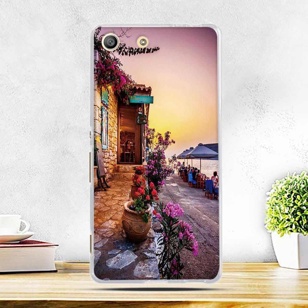 Téléphone Housse pour Sony Xperia M5 E5603 E5606 E5653 TPU SOUPLE Charrette Paysage Imprimer Pour Sony Xperia m5 M 5 COUVERTURE