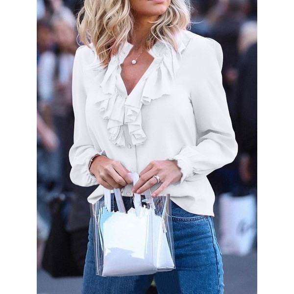 Elegant Solid V-Neck Ruffles Long Sleeve Plus Size Shirt Casual Women Korean Clothing Chiffon Blouses