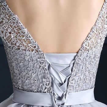 AXJFU new spring grey lace evening dress the bride princess evening dress graduation dinner party short evening dress