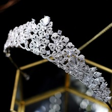 Asnora tiara nupcial cyrkon kryształy ślubne tiary korony ślubne włosy ślubne akcesoria tanie tanio Moda Hairwear A00039 TRENDY PLANT Miedzi Kobiety Cyrkonia Wedding Bridal Princess Crystal Tiaras Bridal Wedding Princess Queen Crowns