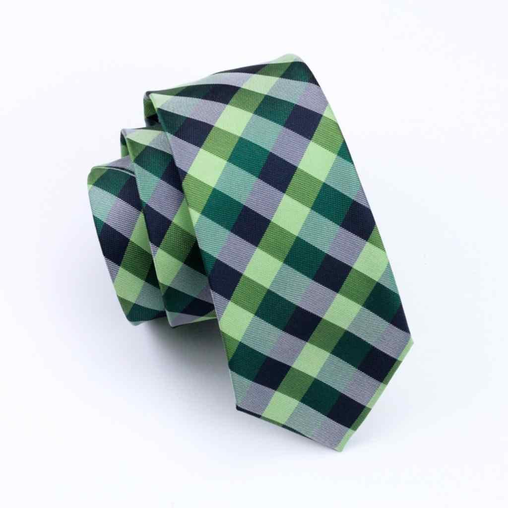 DH-406 Erkek Ipek Kravat Yeşil Ekose Boyun Kravat % 100% İpek Jakar Kravat Erkekler İş Düğün Parti için Ücretsiz Nakliye