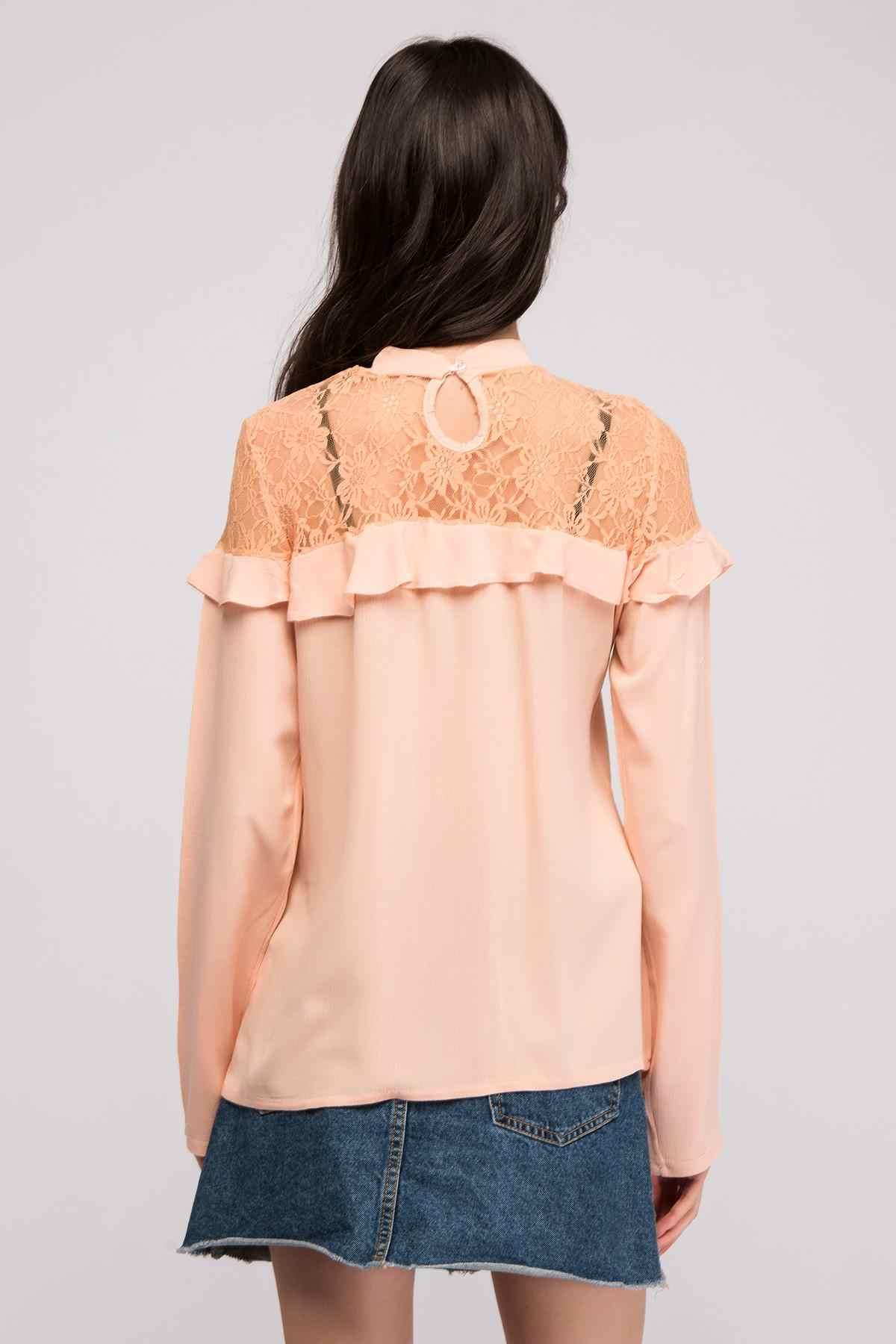 De algodón de las mujeres es en polvo Sile de hombros fruncido de tul volantes blusa 8139329