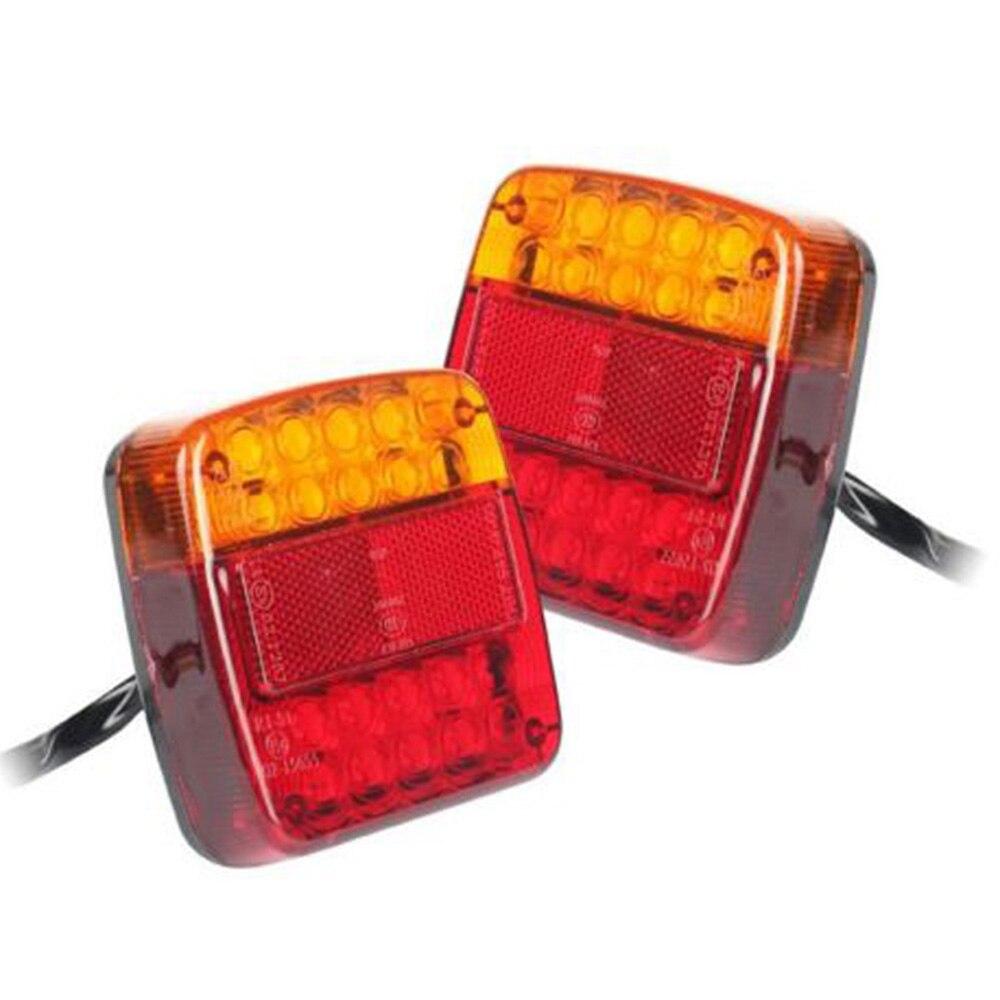2 pièces 12 V 16LED + 4LED bateau camion remorque arrière feux de frein arrière indicateur de virage E-MARK étanche rouge + jaune