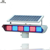 Solar Red Blue Flashing Lights Double sided Six Groups Led Warning Lamp Lithium Signal Light Yellow Flash Light for Crossroads