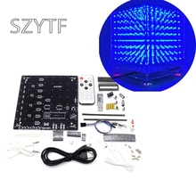1set 8x8x8 3D LED LightSquared DIY Kit White LED Blue or Green or Red Ray 3mm LED Cube Electronic Suite 5V power supply