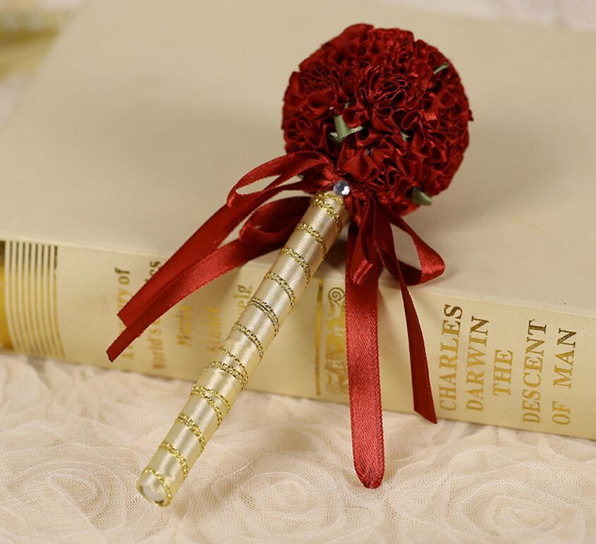 Шелковые цветы мяч с лентой гусиное перо подписания ручка для Свадебная вечеринка Baby Shower Гостевая книга аксессуар сувениры