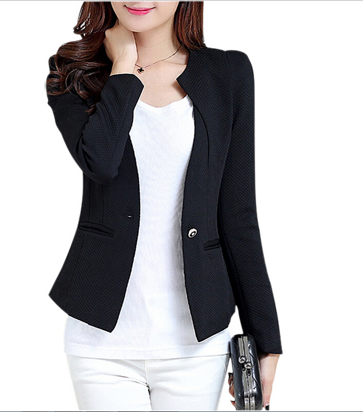 MYPF New Fashion Spring Women Slim Blazer feminino Coat Casual Jacket Long Sleeve One Button Suit White Ladies Blazers Work Wear