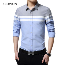 Mens Brand Slim Fit Patchwork Stripe Long Sleeve Shirt