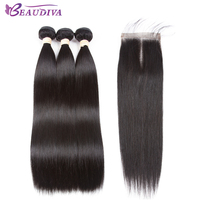 BEAUDIVA Pre Colored 1B Natural Color Straight 3 Bundles With One 4 4 Closure One Pack