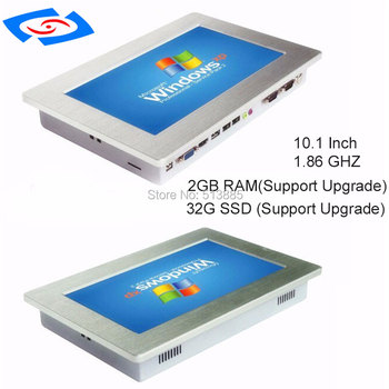 """10.1"""" Embedded Fanless Industrial Panel PC With Resistance Touch Screen Mini PC RS485/RS422/RS232 For Bank ATM Support WiFi"""