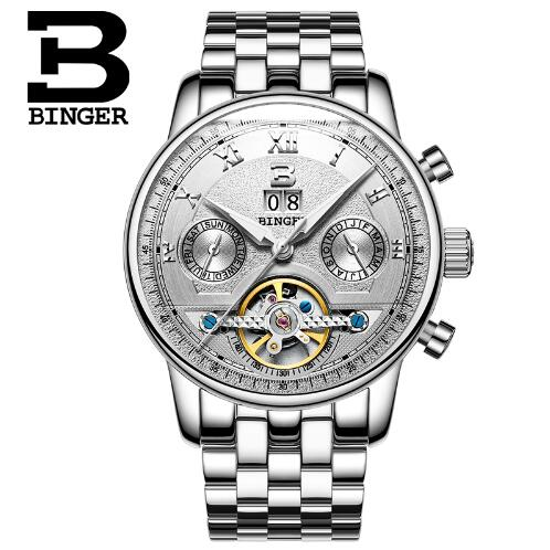 Switzerland Binger Luxury Brand Men Military Sports Watches Men's Auto Hour Clock Male Full Steel Wrist Watch Relogio Masculino 2017 luxury brand men military sports watches men s quartz analog hour clock male stainless steel wrist watch relogio masculino