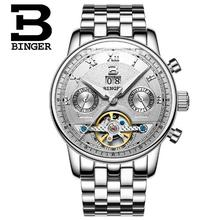Switzerland Binger Luxury Brand Men Military Sports Watches Men's Auto Hour Clock Male Full Steel Wrist Watch Relogio Masculino