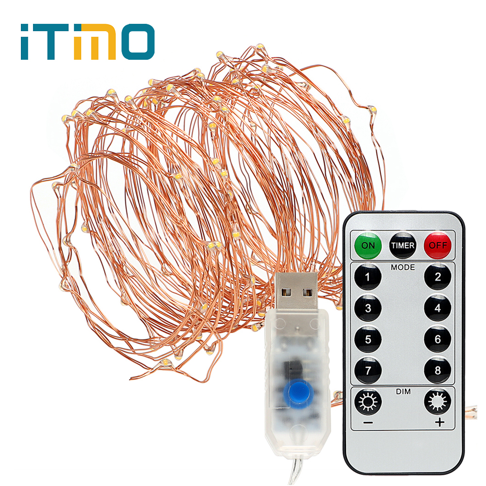 iTimo 5M 10M LED String Light Copper Wire Lamp USB Power Fairy Lights - Holiday Lighting