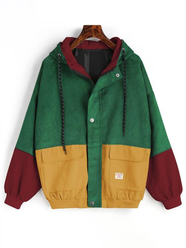 Style Preppy Style Corduroy Patchwork Color Block Woman Coat Autumn Winter Long Sleeve Zipper Slim Corduroy Female Male Coats