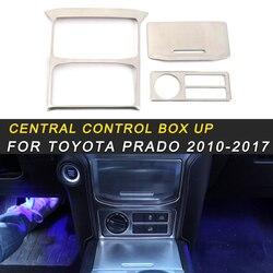 Dla Toyota Prado 2018 samochodów stylizacji centralne sterowanie pudełko do przechowywania Panel pokrywa wykończenia ramki naklejki akcesoria do wnętrz w Naklejki samochodowe od Samochody i motocykle na