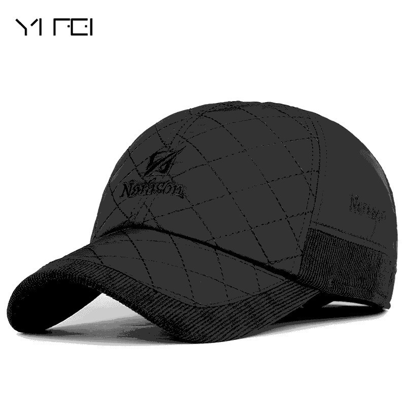 YIFEI Thickening Warm Hat With Ear Flaps Men's Genuine 100%cotton   Baseball     Cap   Winter Outdoors Embroidered Motion   Baseball     Cap