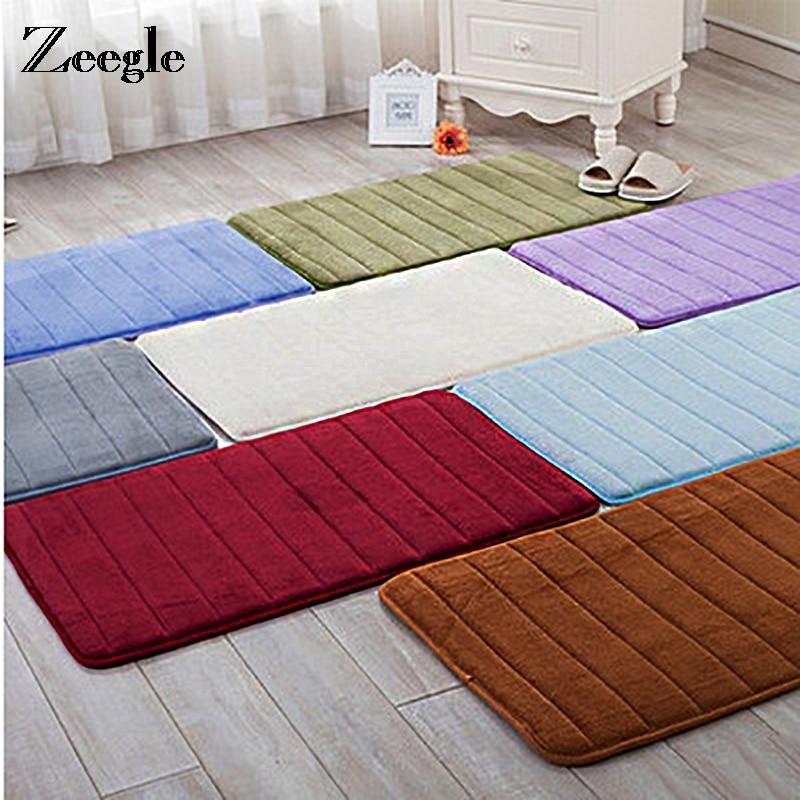 Zeegle memory foam bathroom carpet coral fleece cushion - Cushion flooring for living rooms ...