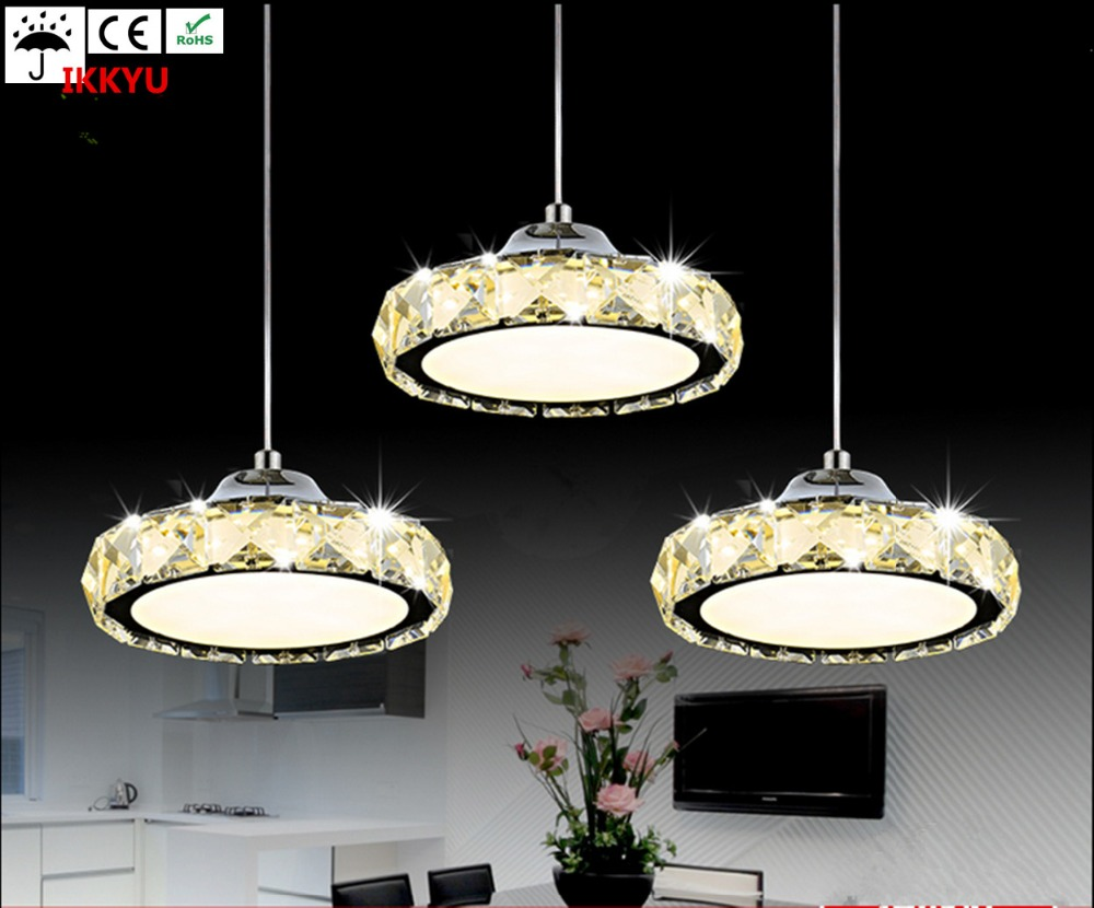 все цены на Restaurant chandelier three crystal lamp simple modern table lamp round LED kitchen bar dining room lights
