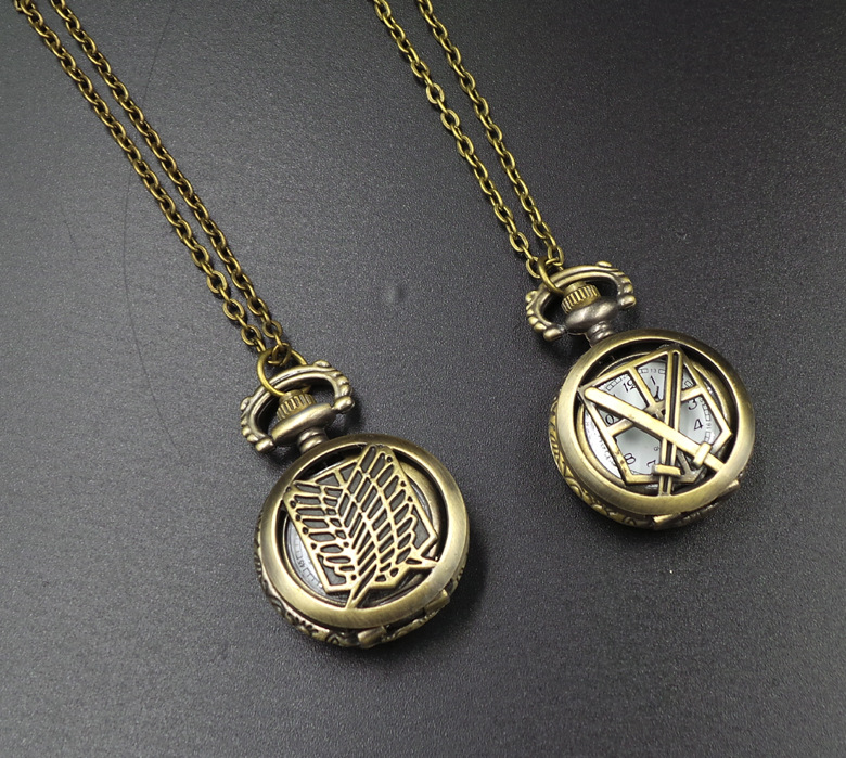 child toy attack on titan recon corps bronze antiques children pendant anime action cosplay pocket watch with necklace for coser
