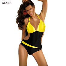 Sexy Women Swimwear One Piece Swimsuit Halter Patchwork Monokini Push Up Padded Bikini Bathing suit